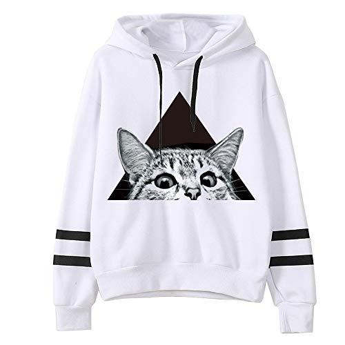NOBRAND - Sudadera con capucha para mujer, diseño de panda y gato, con estampado de dibujos animados