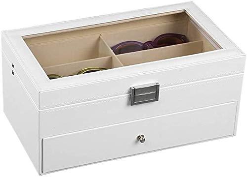 RTUTUR Caja de almacenamiento de vidrios multifuncionales Caja de almacenamiento EyeGlasses Organizador Caja de clasificación 2 capas PU cuero gafas de sol caja de almacenamiento gafas Eyewear caja de