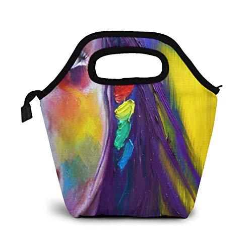 NiWCGP Malen Sie abstrakte Kunst-Frauen-Auge Lunch Tasche Isoliertasche Kühltasche Lunchtasche Thermische Lunch Tasche Mittagessen Tasche für Mädchen Kinder