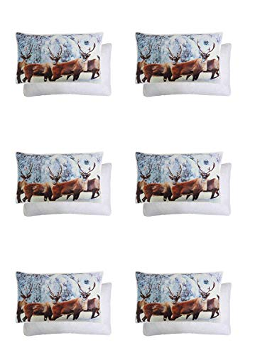 6 X Winter Glitter Sparkly Christmas STAG Reindeer Reversible Fleece Cushion Covers