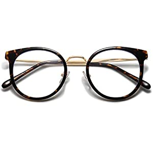 SOJOS Round Anti Blue Light Blocking Glasses Women TR90 Computer Eyeglasses SJ5055