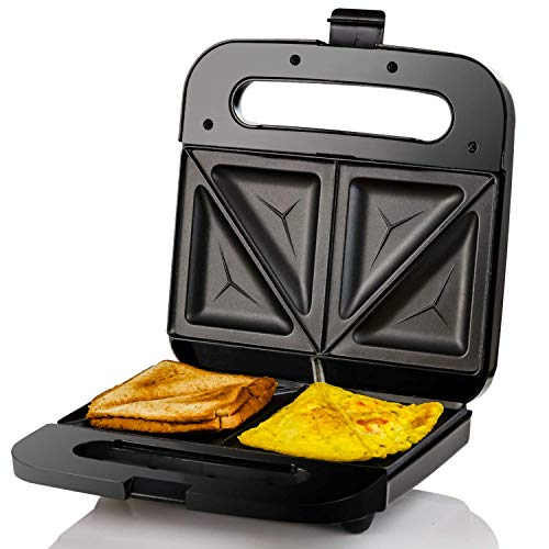 Ovente Electric Sandwich Maker 750 Watts Fast Heating with Non-Stick Coated Plates, Portable and Compact, Easy to Clean, Anti-Skid Feet Preventing Slips and Falls, Black (GPS401B)