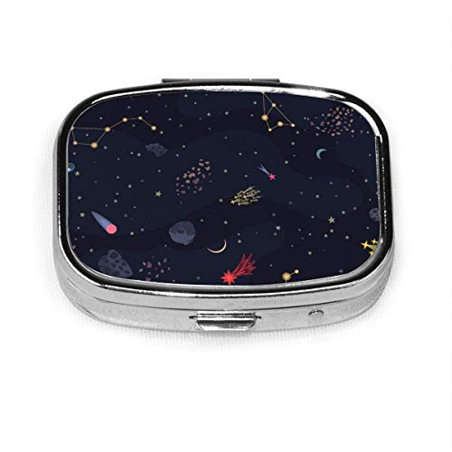 Backround sin costuras del cielo nocturno con estrellas brillantes personalizado moda plata píldora caja medicina tableta titular cartera organizador caso para bolsillo o monedero