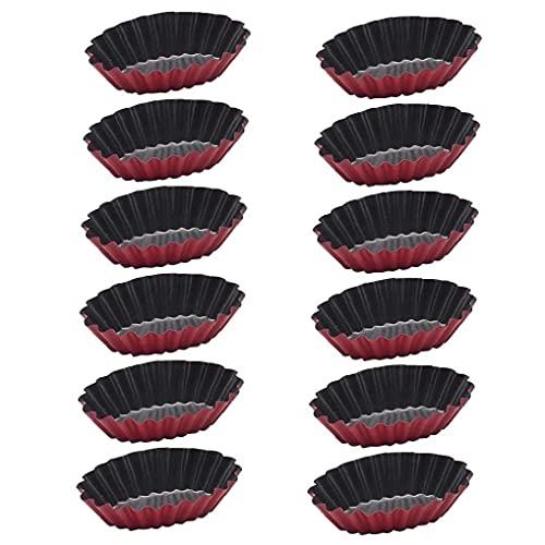 Froiny Stick-12pcs para No Molde Pie Moldes De Aluminio Mini Tarta Quiche Moldes Redondos Estriado Flan Pan con Bases Sueltas