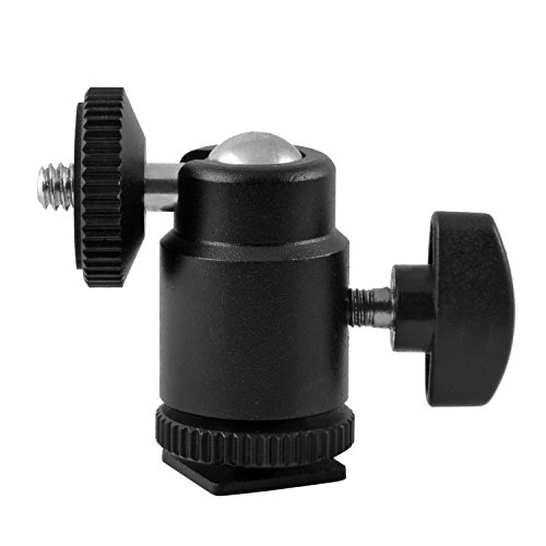 Mini Ball Head Hot Shoe Mount Adapter 360-degree Rotation with 1/4