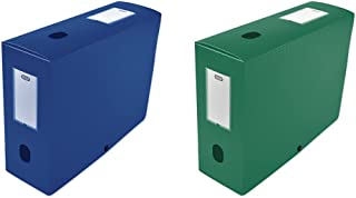 Elba 400094575 Boîte de classement à monter dos 100 mm polypropylène opaque 24 x 32 cm Bleu & 400094576 Boîte de classemen...