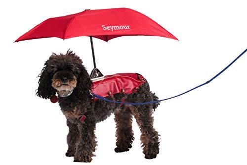 Seymour Dog Umbrella -Compact & Portable Umbrella, Waterproof & Windproof Travel Umbrella for Medium & Small Dogs, Sun Umbrella UV Protection, 2 in 1 Cute Umbrella & Dog Raincoat (Small, RED)