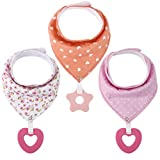 <span class='highlight'><span class='highlight'>Discoball</span></span> Baby Bandana Dribble Bibs with Silicone Teether 3 Pcs Baby Cotton Bib Teething Drool Bibs for Kids Infant Newborn BPA Free