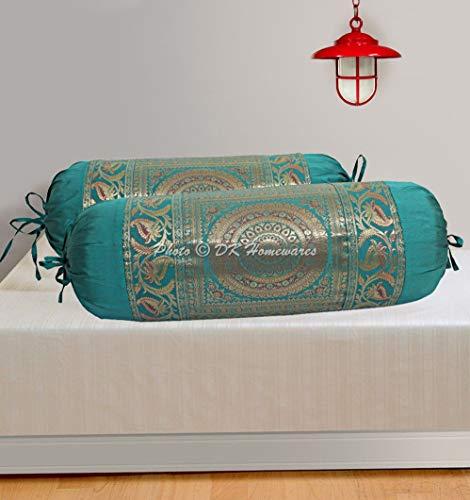 DK Homewares Traditional Sala Decoración 76X38 Cm Funda De Almohada Ortopédica Seda Brocado Floral Mandala Cilíndrico Funda De Cojín De Cuello (Verde ; 30 X 15 Pulgadas) -Conjunto De 2 Piezas