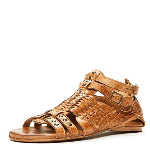 BED|STÜ Claire Women's Leather Sandal - Distressed Leather Sandal - Flat With Buckle Closure - Classic Huarache Sandal - Tan Dip Dye - Size 7