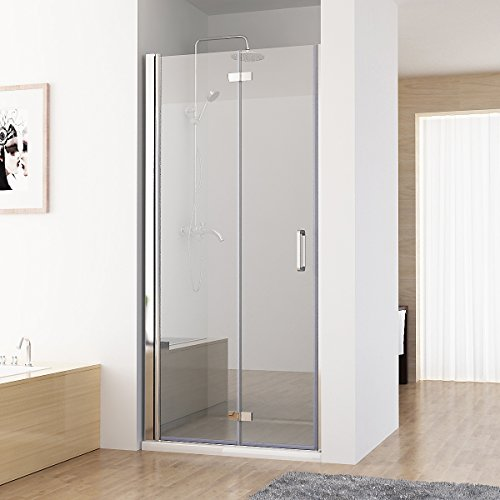 MIQU Nischentür Duschabtrennung 180° Schwingtür Falttür Duschwand Dusche Nano Echtglas 90 x 197 cm