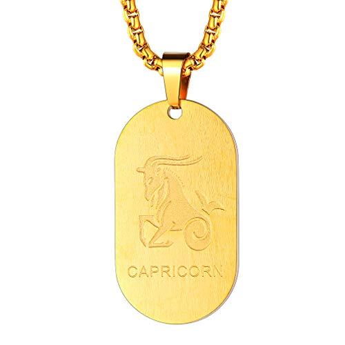 FaithHeart Dog Tag Halskette 12 Sternzeichen-Serie der Steinbock- Damen Halskette, Sternzeichen, Statement Kette, Anhänger, Symbol, Gold