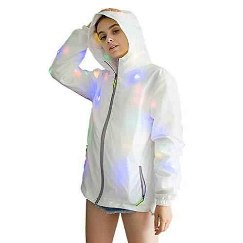 Huaheng Damen Herren Wasserfest LED Glühend Jacken Mantel mit Kapuze Kostüm Leuchtend für Party - XXXL