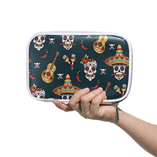 Lustige mexikanische Sugar Skull Musik Gitarre Stifteetui Federmäppchen Federmäppchen Etui Multifunktions Reißverschluss Reisetasche Makeup Pinsel Kosmetik Tasche für Kinder Studium Frau Mann Arbeit