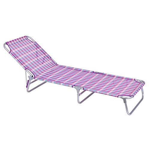 LOLAhome Tumbona Playa Cama de 3 pies de Aluminio y textileno (Rosa y Violeta)