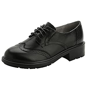 rismart Women's Wingtip Lace-ups Brogue Trendy Leather Oxfords Shoes