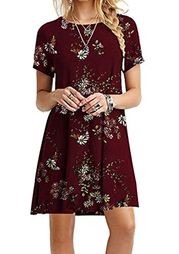 OMZIN Damen Langes Shirt Basic Tops Langes ShirtShirtkleid Kurzarm Shirt Casual Tunika Sommerkleid Weinrot Blumen XL