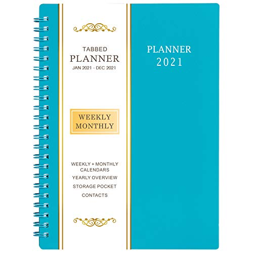 """2021 Planner - Jan - Dec 2021, Weekly & Monthly Planner with Flexible Cover, 6.25"""" x 8.3"""", Strong Twin - Wire Binding, Round Corner, Improving Your Time Management Skill"""