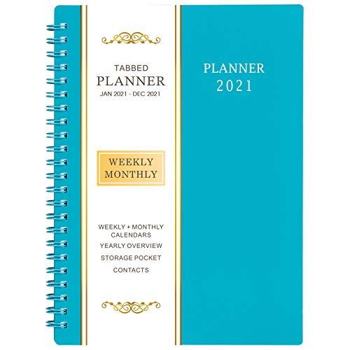 """2020 Agenda/Academic Planner - Settimanale e Mensile Pianificatore, 12 Schede Mensili, 21 Pagine di Note, Rilegatura a Doppio Filo con Tasca Interna a Due Lati, 5 """"x 8"""""""