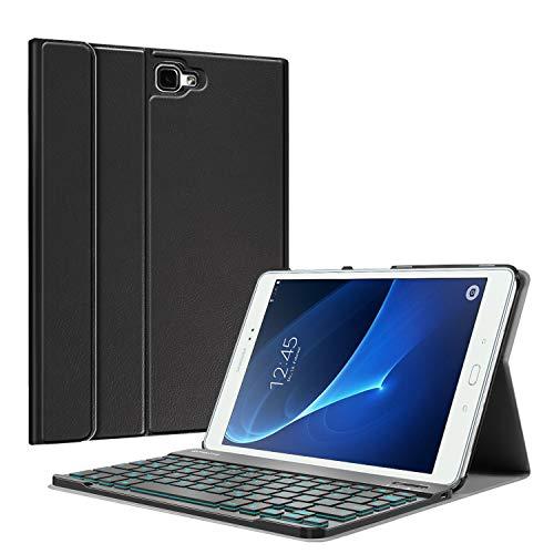 Fintie Tastatur Hülle für Samsung Galaxy Tab A 10,1 2016 T580N/ T585N - Schutzhülle mit [Hintergrundbeleuchtung in 7 Farben] magnetisch Abnehmbarer drahtloser Deutscher Bluetooth Tastatur, Schwarz