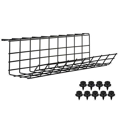Scandinavian Hub Schreibtisch Kabelkanal – Kabelhalter für Kabelordnung. Metallene Kabelbox für Büro und Zuhause (Schwarz – Einfach 43cm)