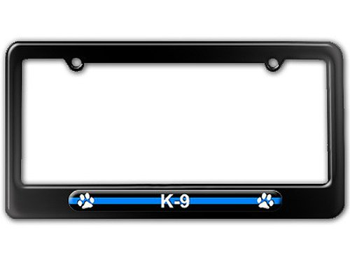 Graphics and More Thin Blue Line K-9 Unit Paw Prints - Police License Plate Tag Frame - Color Gloss Black