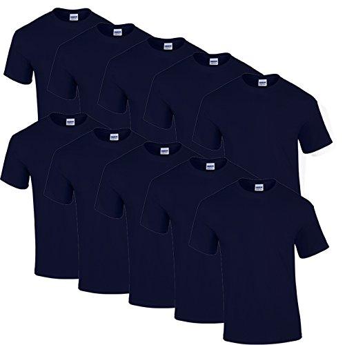10 Gildan T Shirts Heavy Cotton M L XL XXL Diverse Farben auswählbar (XXL, Navy)
