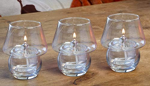 Clearcraft 3 x Shanghai Outdoor, Garden or Indoor Refillable Glass Oil Lamp Candle Burners For Use With Odourless Or Citronella Lamp Oil. Perfect for Barbecue Lights