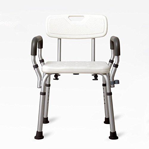Yuany toiletstoel, Deluxe in hoogte verstelbare aluminium badkamer/douchekop met rug- en douchekophouder - geschikt voor ouderen, zwangere vrouwen en gehandicapte (maat: A)