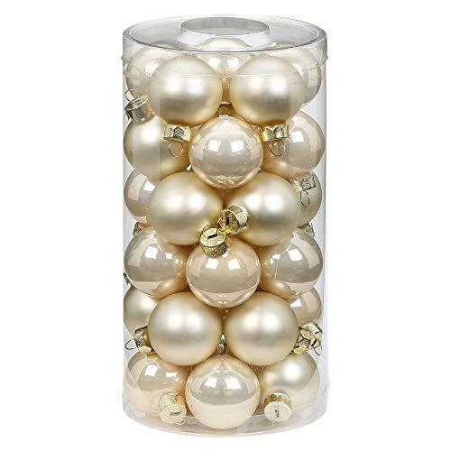 MAGIC Weihnachtskugeln Glas 4cm, 30 Stück Christbaumkugeln Deko Weihnachten Farbe: Perle - Champagner