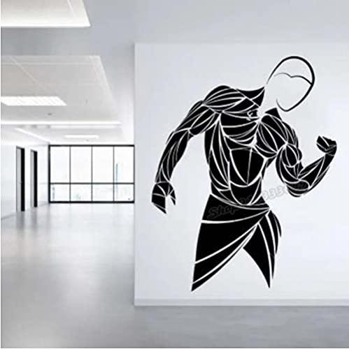 Calcomanía de pared de gimnasio entrenamiento atlético gimnasio músculo Logo Fitness Beast Barbell culturismo pegatina de pared saludable vinilo decoración de habitación 42X33CM