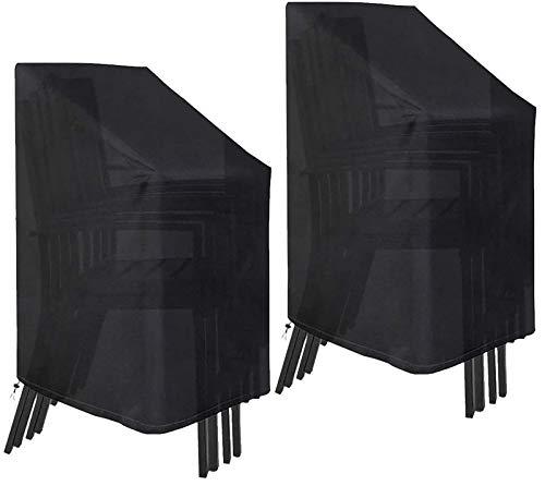 GJJSZ Fundas para sillas de jardín 2 Piezas Funda de Asiento apilable para Patio Impermeable a Prueba de Viento 210D poliéster Negro para Almacenamiento de Muebles de jardín al Aire Libre 75x75x120cm