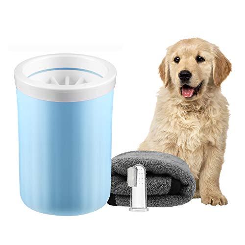 Lzansuii Pet Paw Cleaner Tragbare Hundekatze Fußreiniger Cup Kits (1 Handtuch, 1 Zahnbürste) Bürste mit abnehmbaren weichen Silikonborsten zum Reinigen von schmutzigen und schlammigen Pet Paw (Mittel)