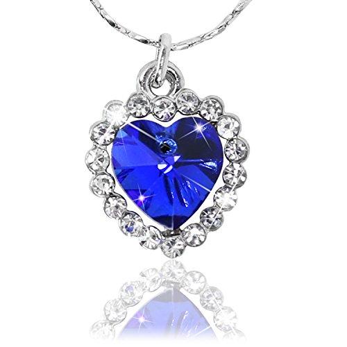 com-four® Collier Femme élégant avec Un Coeur Bleu (Coeur...