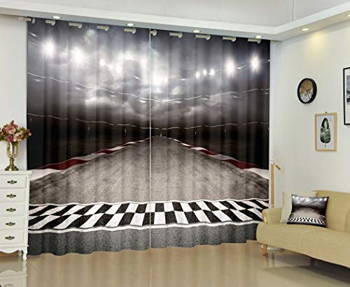 Arena Three Dimensional Spotlight Curtains,Track Arena Spotlight Dimensional Spotlight,Soundproof 100% Blackout Curtains for Bedroom Living Room Window Drapes 2 Panel Set,108X84 Inches
