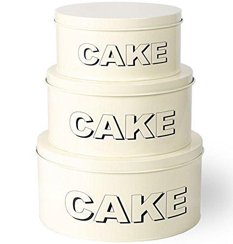 Ensemble de 3 contenants de rangement en étain pour muffins à gâteaux en métal Shabby Chic, petits, moyens et grands
