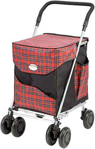 Sholley Deluxe Shopping Trolley 4 (8) Wheels, Folding, Strong, Stable, Aids Mobility, Ladies, Mens and Unisex Designs (Balmoral, Regular)