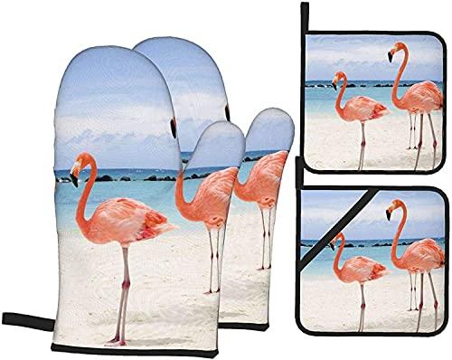 Sky Flamingo Bird - Juego de guantes y soportes para ollas, resistentes al calor, guantes antideslizantes para horno de cocina para parrilla, cocinar, hornear, barbacoa, microondas