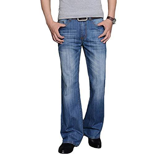 HAORUN Los hombres Bell Bottom Jeans Slim Fit Vintage 60s 70s Pantalones de mezclilla acampanados