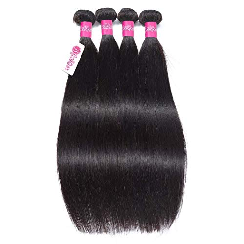 Brazilian Straight Hair 4 Bundles 24 26 28 30inch 100% Virgin Unprocessed Human Hair Bundles Brazilian Remy Human Hair Weave Natural Color 100g/bundle Brazilian Hair Bundles Straight Hair Extensions