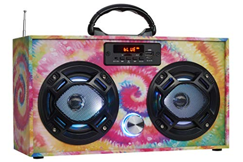 Wireless Express - Mini Boombox with LED Speakers –Retro Bluetooth Speaker w/Enhanced FM Radio - Perfect for Home and Outdoor (Tie Dye)