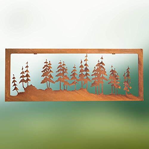 Chirpy Project Dekorationen aus Cortenstahl, Verwitterungsstahl Wald Silhouette mit Rahmen zum hängen