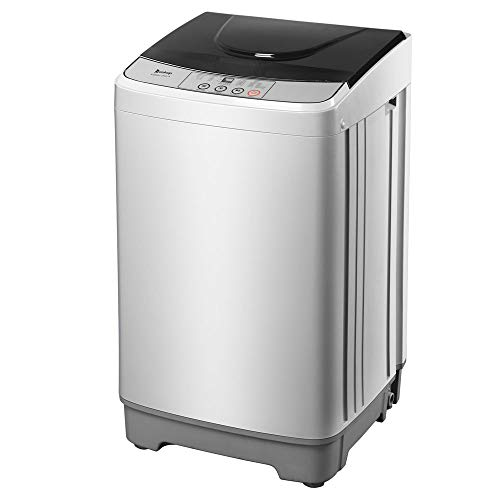 Z okop Full-Automatic Washing Machine with LED Display Portable Compact Laundry Washer Spin with Drain Pump,10 programs 8 Water Level Selections (Gray 13lb A)
