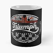 Vintage Triumph Motorcycle Cracked - Morning Coffee Mug Ceramic Novelty Holiday