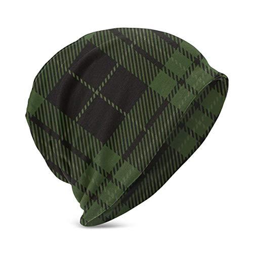 Hdadwy Negro Verde Tartán Plaid Scottish Kid 's Winter Warm Knit Sombreros Elástico Soft Beanie Hat Gorra de Calavera para niños niñas