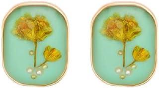 orecchini s925, retro pittura a olio orecchini di perle di fiori secchi femminili 1,6 * 1,2 cm
