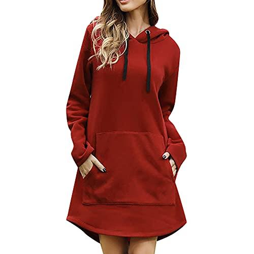 Sudadera con capucha para mujer, elegante, de algodón, para otoño e invierno, manga larga, con capucha, cordón, parte superior de un color, holgada, informal, con capucha, tallas S-2XL, rojo, XL