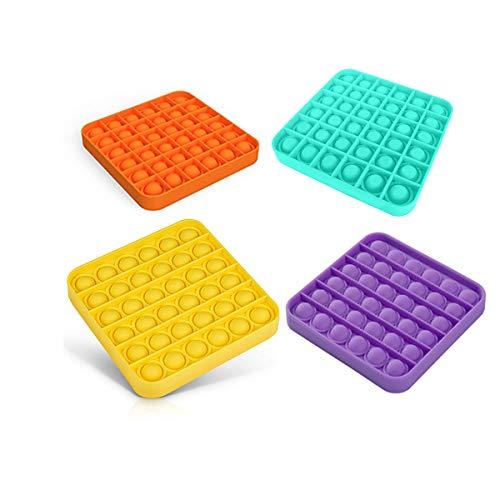 Pop push it fidget toy pop bubble fidget sensory toys stress relief and anti-anxiety tools for kids girls boys-Square-4PCS
