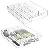 mDesign Plastic Kitchen Cabinet Drawer Storage Organizer Tray - for Storing Organizing Cutlery, Spoons, Cooking Utensils, Gadgets - 5 Divided Compartments - 2 Pack - Clear