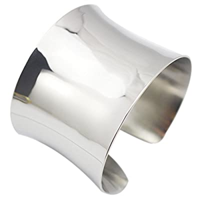 Silver Wide Grooved Cuff Bangle for Women Girls Stainless Steel Shiny Punk Bracelet